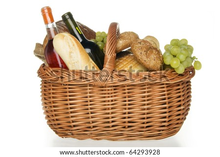 Wine bread and cheese in picnic basket,on white background. - stock photo