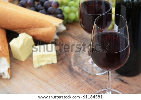 Wine, Bread, Cheese, Grapes - stock photo