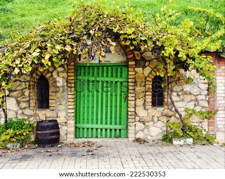 wine cellar on Morava, Czech - stock photo