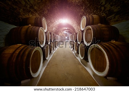 Wine cellar with stacked oak old barrels for maturing wine. - stock photo