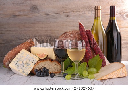 wine,cheese and bread - stock photo