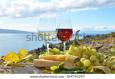 Wine, cheese and grapes on the terrace of vineyard in Lavaux region, Switzerland - stock photo