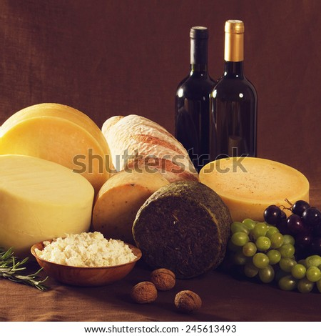 Wine, cheese and other traditional food - stock photo