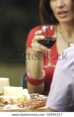 wine, cheese, salami and woman - stock photo