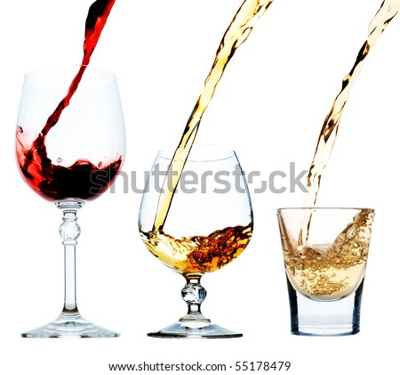Wine, cognac, tequila - stock photo
