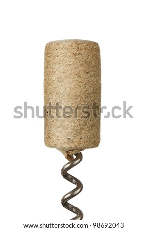 Wine cork at bottle opener isolated on white background - stock photo