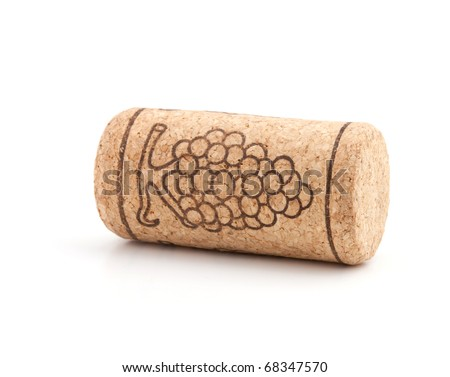 Wine cork with grape illustration. Isolated on white background - stock photo