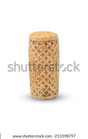 Wine cork with grape. Isolated on white - stock photo