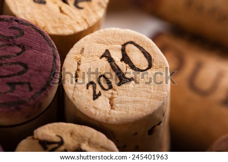 Wine Corks Close-up with the vintage 2010 - stock photo