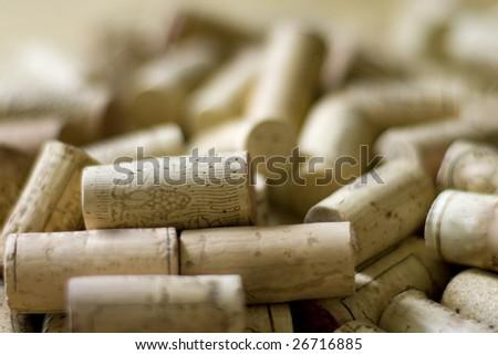 wine corks heap closeup - stock photo