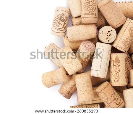 Wine corks heap. Isolated on white background  - stock photo