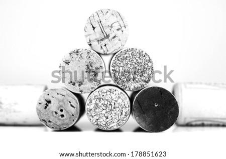 Wine corks in detail, Black&white - stock photo