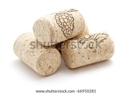wine corks isolated - stock photo