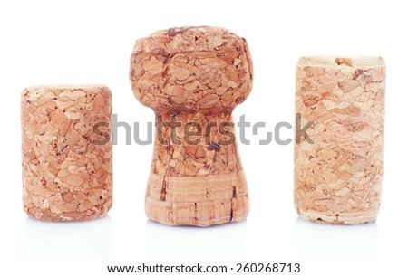 Wine corks isolated on white - stock photo