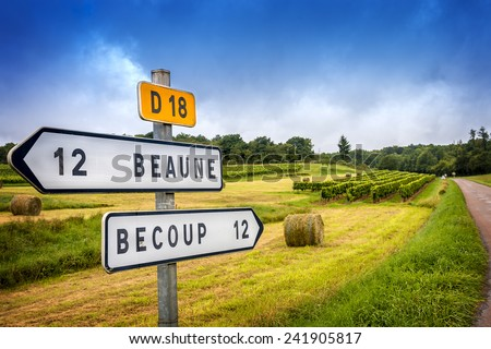 Wine French country road signs leading to the top burgundy vineyards - stock photo