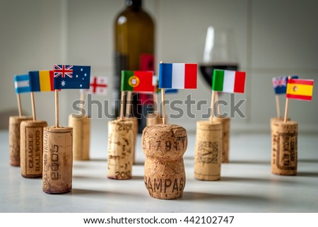 Wine from all over the world - stock photo