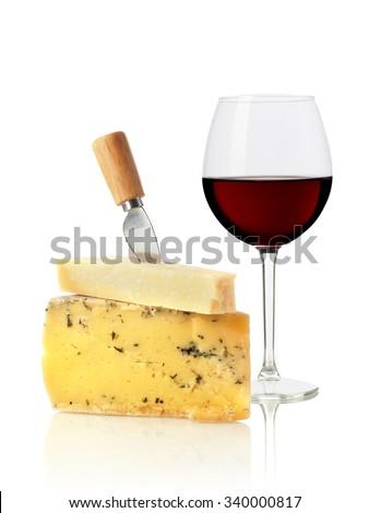 Wine glass and cheese - stock photo