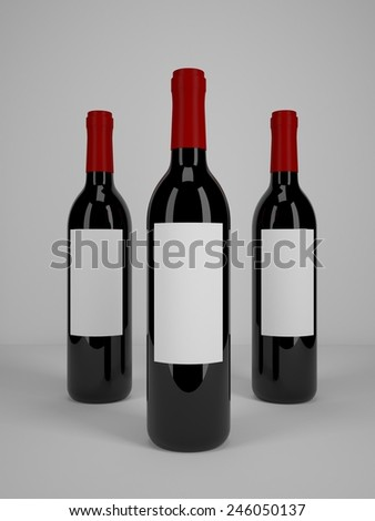 Wine Glass Bottles for Branding and Labeling. 3D realistic render - stock photo