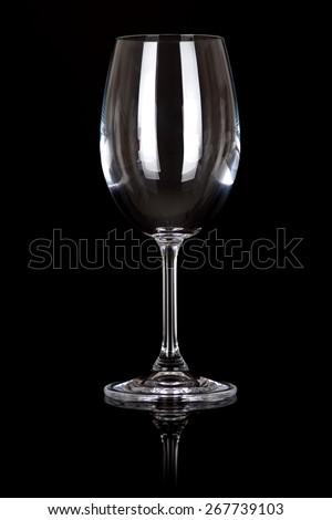 wine glass on black - stock photo