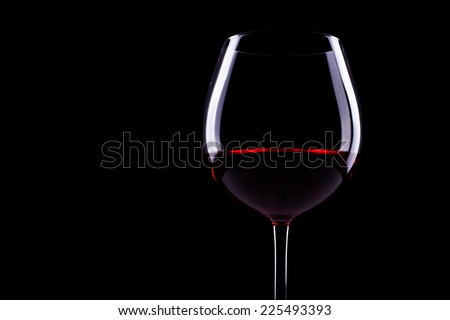Wine Glass on black background - stock photo
