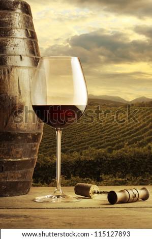 Wine glass on vineyard background - stock photo