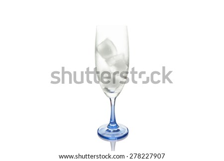 wine glass with ice. isolated on a white background - stock photo