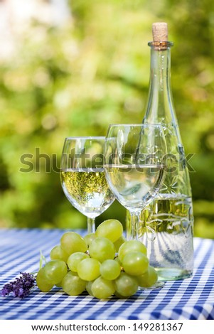Wine glasses, a bottle and fresh green grapes - stock photo