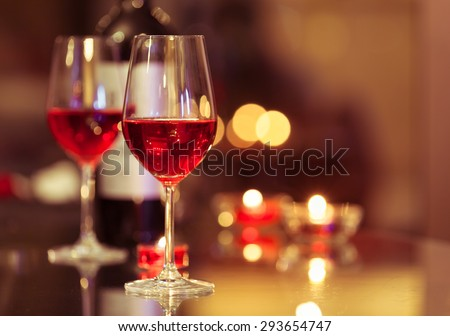 Wine glasses in a restaurant.  - stock photo