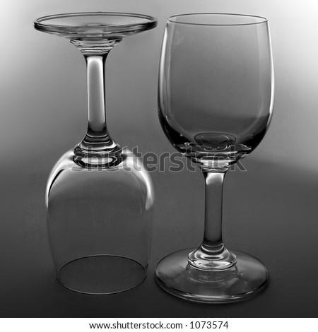 wine glasses in black and white - stock photo