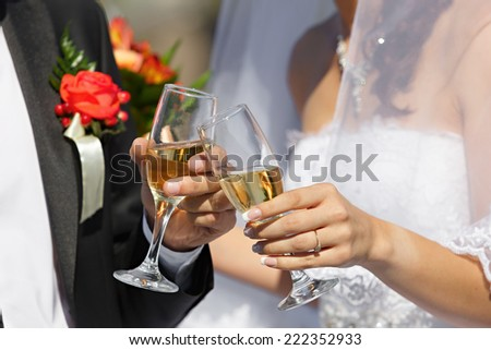 wine glasses in hand bride and groom - stock photo