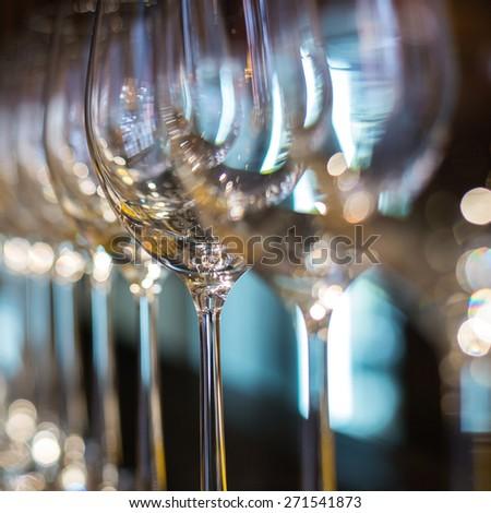Wine glasses in row - stock photo
