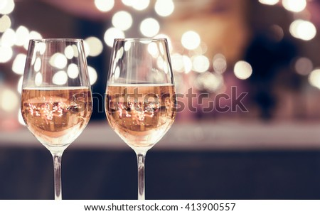 Wine glasses on a bar.  - stock photo