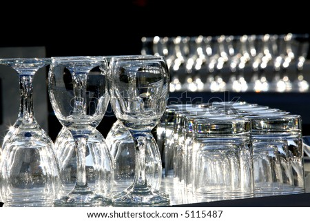 wine glasses on bar - stock photo
