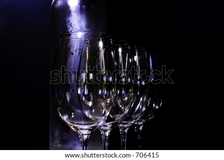 Wine Glasses w/bottle - stock photo