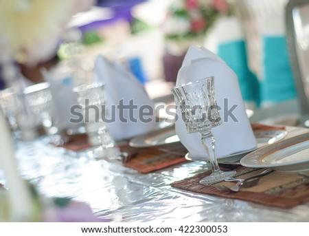Wine Goblet. Beautiful wedding decoration. selective focus  - stock photo