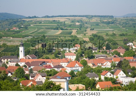 wine-growing areas cruise on the Danube from vienna to merk austria - stock photo