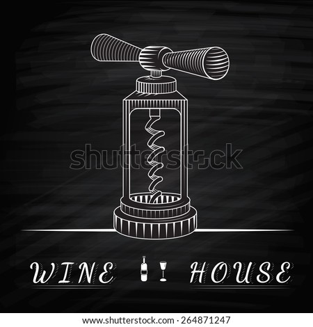 Wine House. Logo for wine shop. Classic corkscrew. Corkscrew an engraving style. Drawing with chalk. Corkscrew on a chalkboard - stock photo