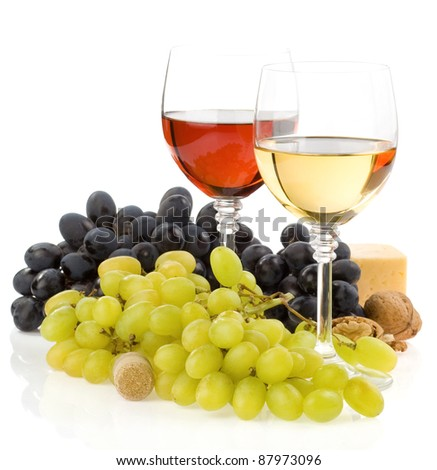 wine in glass and fruit isolated on white background - stock photo