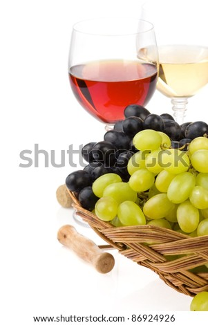 wine in glass and grape fruit isolated on white background - stock photo