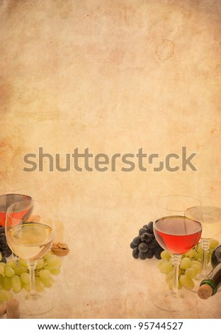 wine in glass and grape fruit on old paper parchment background - stock photo