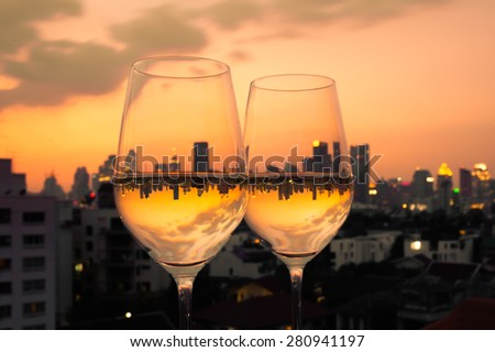 Wine in the city - stock photo