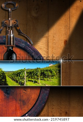 Wine List Design / Wooden background with old wooden barrel, green vineyard, corkscrew and black wine bottle. Template for wine list or menu  - stock photo