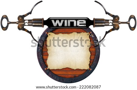 Wine List Design / Wooden barrel with empty parchment, two corkscrews and wine bottle isolated on white. Template for wine list or menu  - stock photo