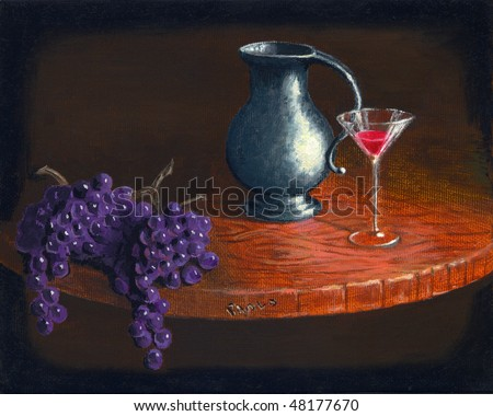 Wine Oil Painting - stock photo