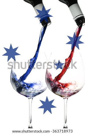 wine pour in Australian colours, with the southern cross overlaid. imagery for Australia Day - stock photo