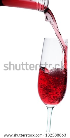 wine poured in a glass isolated on white - stock photo