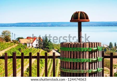 Wine-press at Lake Balaton,Hungary - stock photo