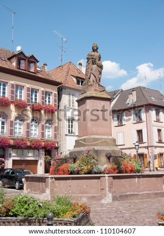Wine road town Ribeauville with romantic architecture - stock photo