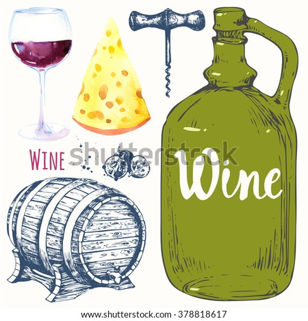 Wine set. Winemaking products in sketch style. Watercolor and sketch illustration with wine glass, corkscrew, old wine bottle, grape, cheese, corkscrew. Classical alcoholic drink.   - stock photo
