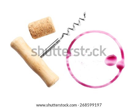 Wine stain, cork and corkscrew  isolated on white - stock photo